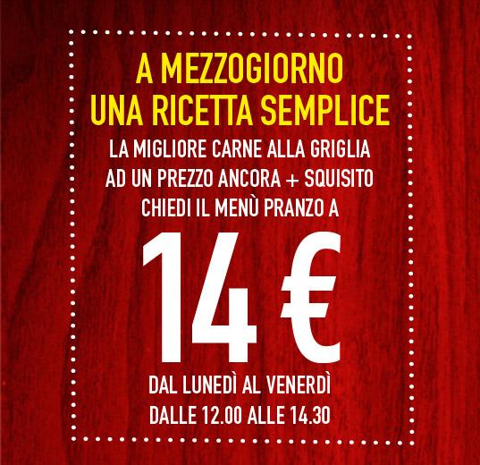 Menu pranzo a 14 euro da Roadhouse Grill!