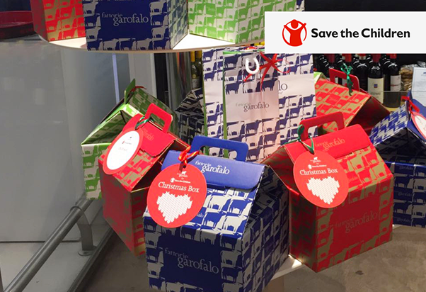 Fattorie Garofalo: Christmas boxes for Save the Children.