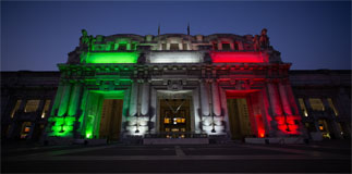Milano Centrale gets wrapped in Tricolor lights
