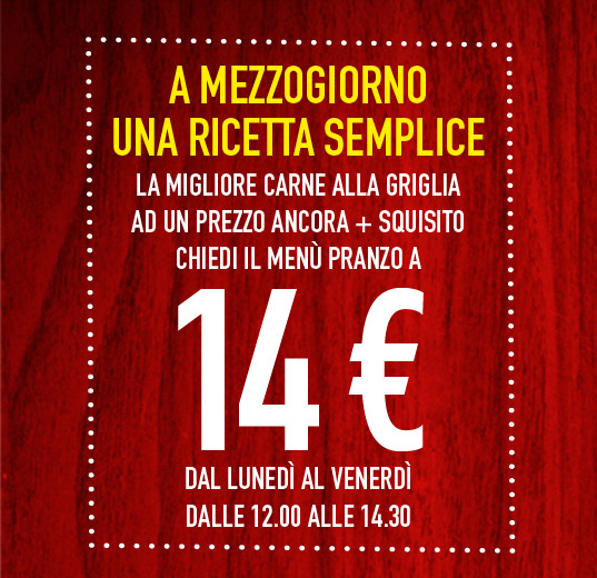 Menu pranzo a 14 euro da Roadhouse Grill!