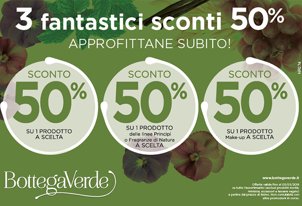 Promo Bottega verde 50 % off